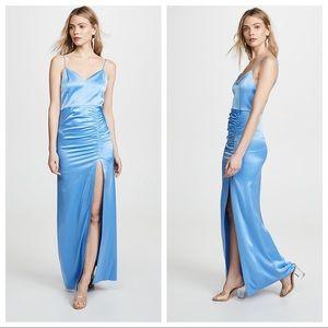 Alice + Olivia Diana Blue Ruched Maxi Dress